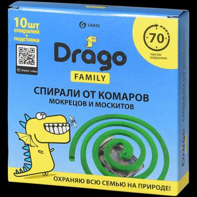 Средство инсектицидное GraSS Спираль от комаров эффект Drago 10шт