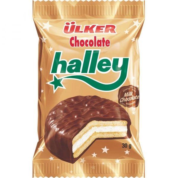 Печенье-сэндвич Halley покрытое молочным шоколадом с маршмэллоу