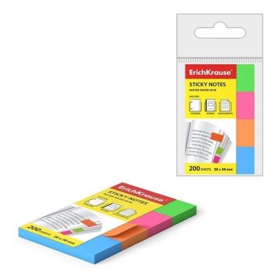 Закладки бумажные с клеевым краем ErichKrause Neon 20х50 мм 200 листов 4 цвета