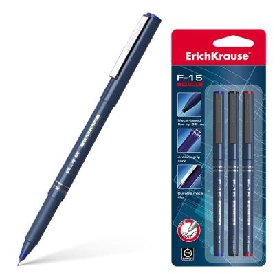 Ручка капиллярная ErichKrause F-15 цвет чернил: синий, черный, красный (в упаковке 3 шт.)