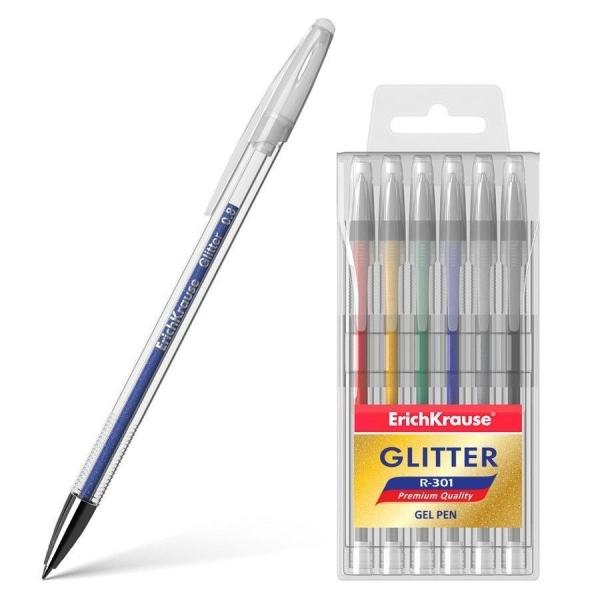 Ручка гелевая ErichKrause R-301 Glitter (в упаковке 6 шт.)