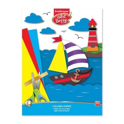 Цветная бумага мелованная на клею ErichKrause ArtBerry А4, 10 листов 10 цветов игрушка-набор для детского творчества