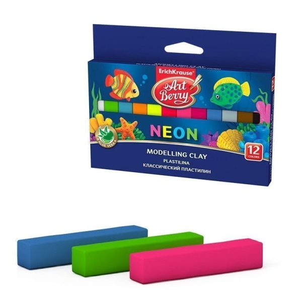 Классический пластилин ErichKrause ArtBerry с Алоэ Вера Neon 12 цветов (картон с европодвесом)