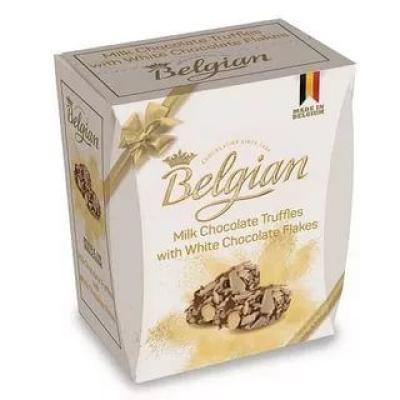 Трюфели The Belgian из молочного шоколада в хлопьях из белого шоколада