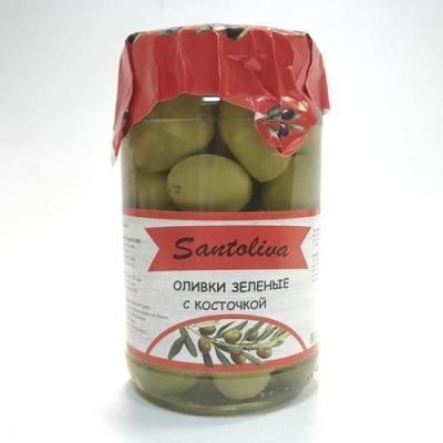 Оливки 'Santoliva' зелёные с косточкой (ст.б.)