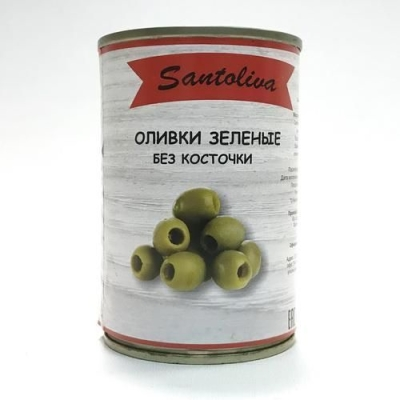 Оливки 'Santoliva' зелёные без косточки (ж/б)