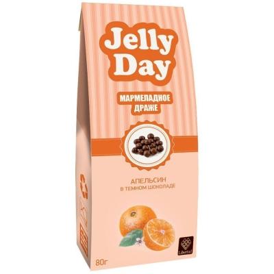 Драже 'JELLY DAY' Мармеладные шарики со вкусом Апельсина в темном шоколаде