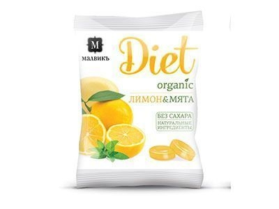 Леденцовая карамель без сахара на изомальте 'МАЛВИКЪ Diet' Лимон и мята