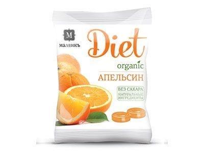 Леденцовая карамель без сахара на изомальте 'МАЛВИКЪ Diet' Апельсин