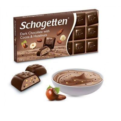 Шоколад темный Schogetten с начинкой крем-какао с дроблеными какао-бобами и лесными орехами