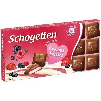 Шоколад молочный Schogetten с начинкой из молочного крема и из лесных ягод «Cream&Berries»
