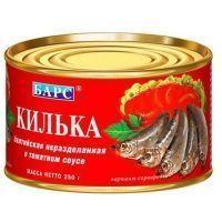 Килька неразделанная балтийская Барс в томатном соусе №6
