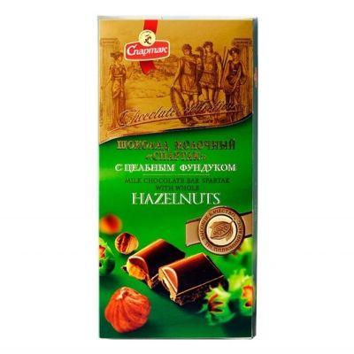 Шоколад Спартак молочный с цельным фундуком пенал