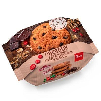 Печенье Посиделкино Овсяное с кусочками клюквы и добавлением шоколадных кусочков