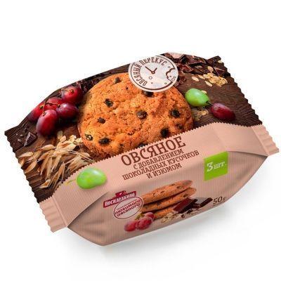 Печенье Посиделкино Овсяное с цельным изюмом и добавлением шоколадных кусочков