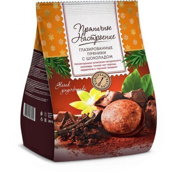 Пряники Посиделкино Пряничное настроение мини с шоколадом в кондитерской глазури