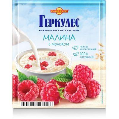 Овсяная каша моментального приготовления Русский продукт Геркулес с малиной и молоком