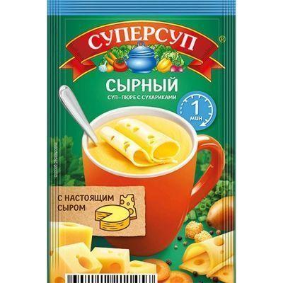 Суп Суперсуп-пюре Суперсытный моментального приготовления Сырный с сухариками