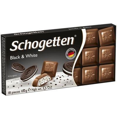 Шоколад молочный Schogetten Black&White с начинкой ванилльный крем с кусочками печенья с какао