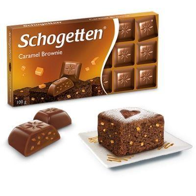 Шоколад молочный Schogetten Caramel Brownie с начинкой шоколадный крем брауни с печеньем с какао и карамелью