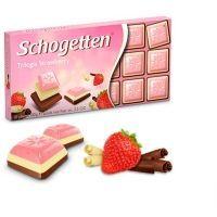 Шоколад Schogetten Trilogia Strawberry белый со вкусом клубники, белый, альпийский молочный