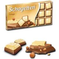 Шоколад Schogetten Trilogia белый с грильяжем и фундуком, молочный с джандуей и фундуком, молочный