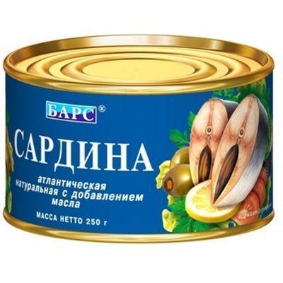 Сардина атлантическая натуральная с добавлением масла Барс easy open