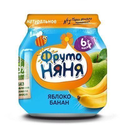 Пюре ФрутоНяня яблоко, банан с 6 месяцев ст/б