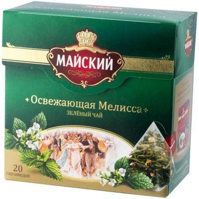 Чай Майский Освежающая Мелисса зеленый ароматизированный с мелисой 20п ирам.