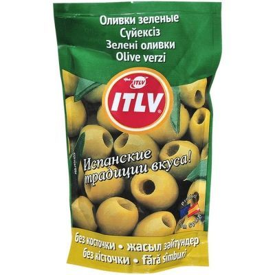 Оливки зеленые ITLV без косточки дой-пак