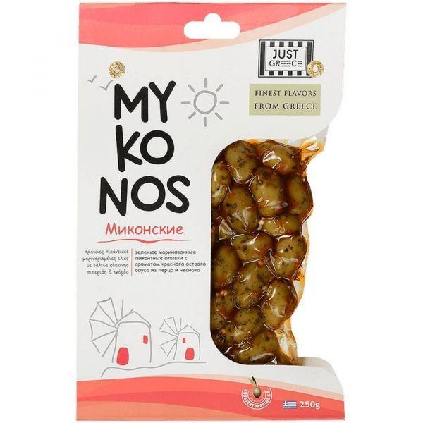 Оливки Джаст Грис  Миконские в рассоле перец, чеснок