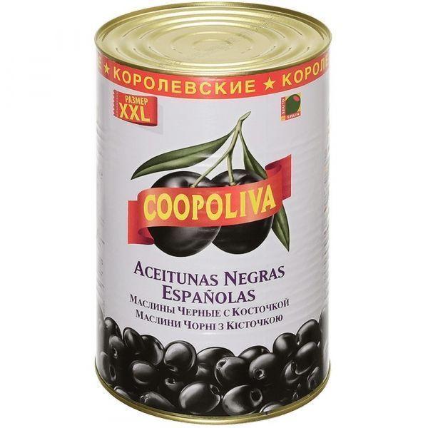 Маслины Coopoliva королевские c косточкой 80/100 ж/б