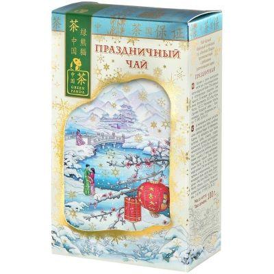 Чай Зеленая Панда Праздничный Зима черный крупный лист карт