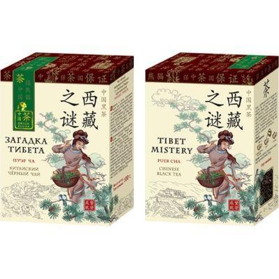 Чай Зеленая Панда Загадка Тибета черный байховый китайский крупнолистовой Пуэр карт