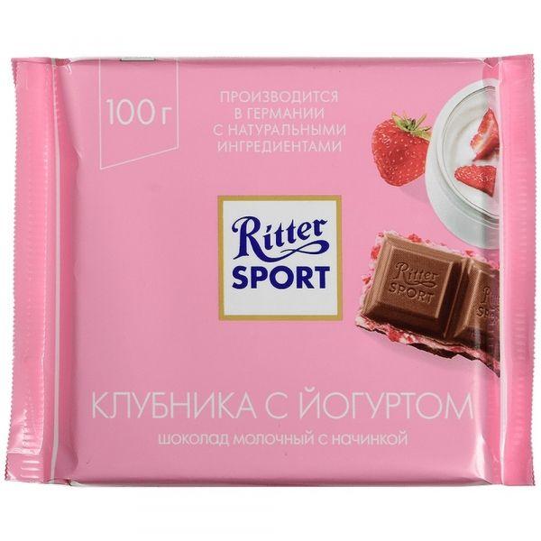 Шоколад Риттер Спорт молочный с клубнично-йогуртовой начинкой