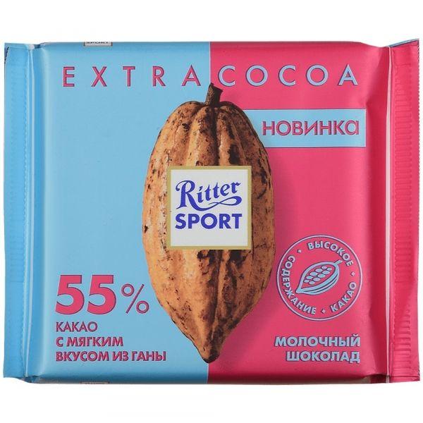 Шоколад Риттер Спорт молочный из Ганы 55% какао