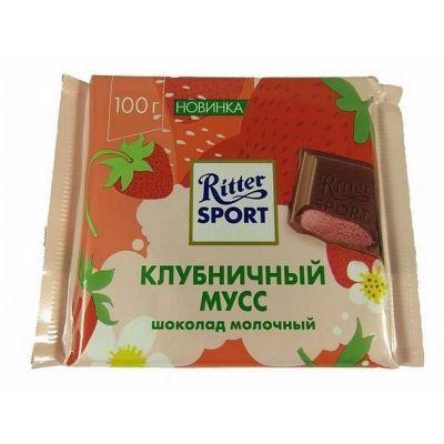 Шоколад Риттер Спорт молочный с клубнично-кремовой начинкой