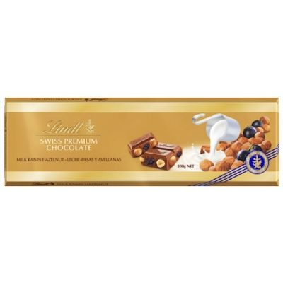 Шоколад Lindt Голд Молочный с изюмом и цельным фундуком