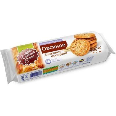 Печенье сдобное Хлебный Спас Овсяное Злаковое ассорти на фруктозе