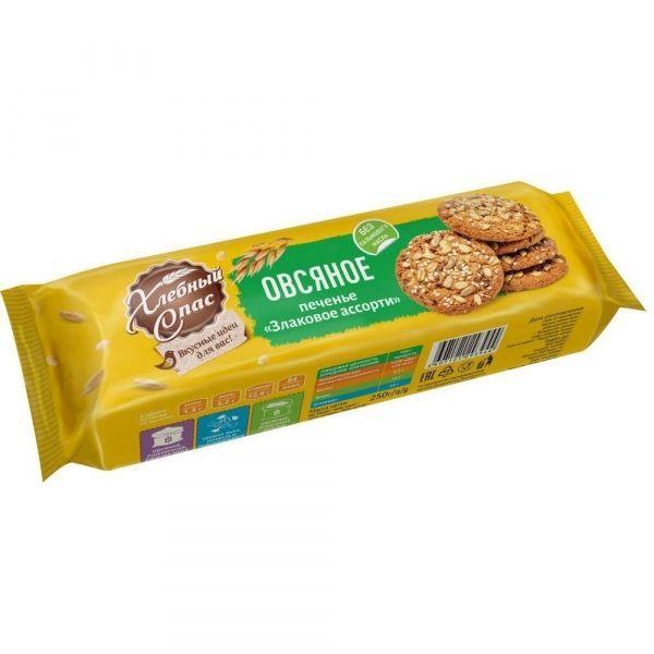 Печенье сдобное Хлебный Спас Овсяное Злаковое ассорти