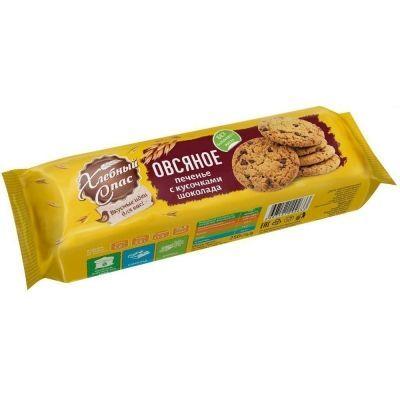Печенье сдобное Хлебный Спас Овсяное с кусочками шоколада