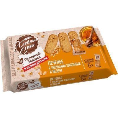 Печенье сдобное Хлебный Спас Полезный завтрак с овсяными хлопьями и мёдом