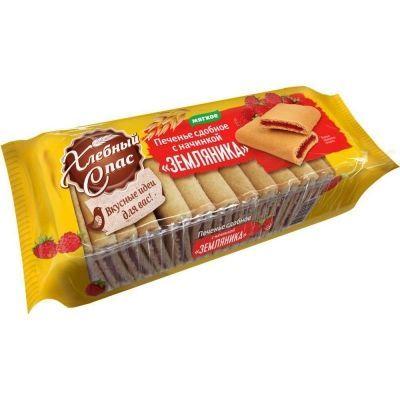 Печенье сдобное Хлебный Спас с начинкой Земляника