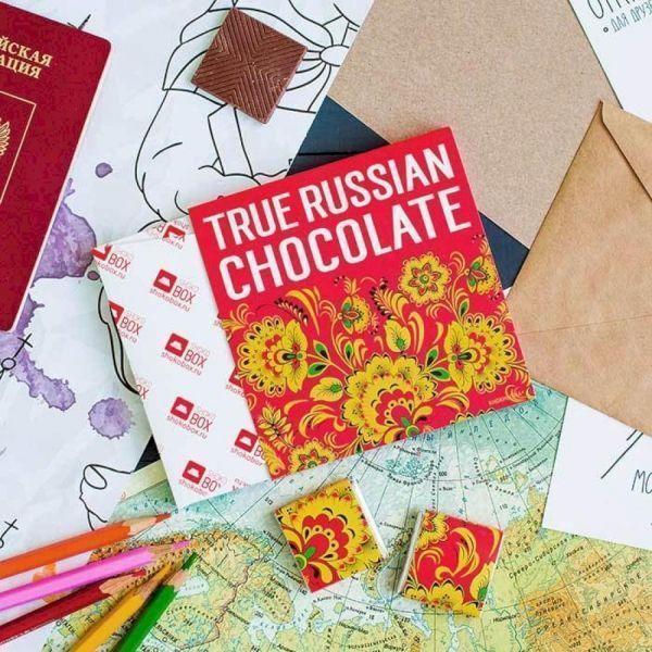 Шоколадный набор Шокобокс Кватро Хохлома красная