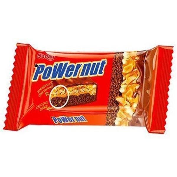 Батончик шоколадный Saray Powernut бисквит покрытый молочным шоколадом с прослойкой из орехов и мягкой карамели