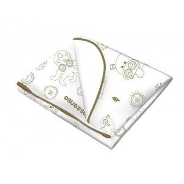 Клеенка Inseense подкладная с ПВХ покрытием (окант тесьмой) 0,5 х 0,7м (белая с рисунком)