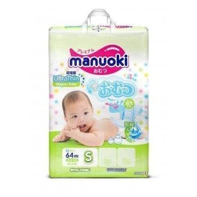 Подгузники Manuoki Ультра тонкие S (3-6 кг) 64 шт