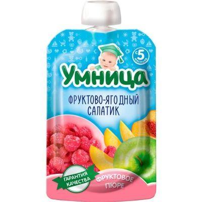 Пюре Умница Фруктово-ягодный салат (яблоко, малина, персик)