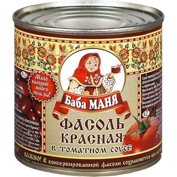 Фасоль Баба Маня красная в томатном соусе