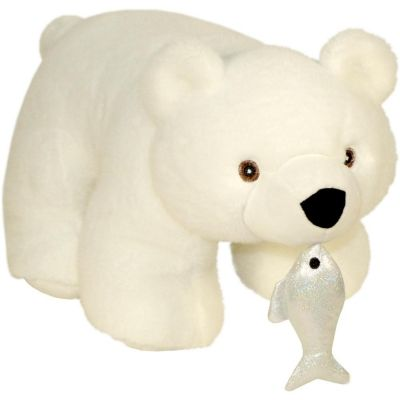 Новогодний подарок Белый мишка мех
